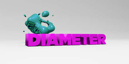 diameter: DIAMETER - 3D rendered colorful headline illustration.  Can be used for an online banner ad or a print postcard.