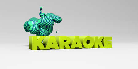 sentence typescript: KARAOKE - 3D rendered colorful headline illustration.  Can be used for an online banner ad or a print postcard. Stock Photo
