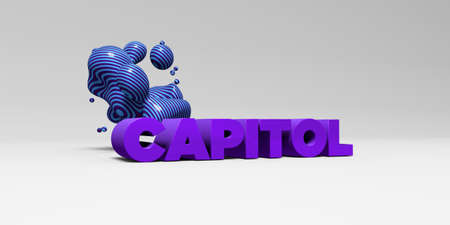 CAPITOL - 3D rendered colorful headline illustration.  Can be used for an online banner ad or a print postcard. Stock Photo
