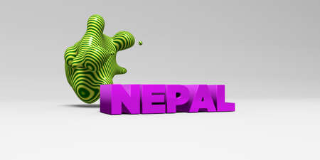 NEPAL - 3D rendered colorful headline illustration.  Can be used for an online banner ad or a print postcard.