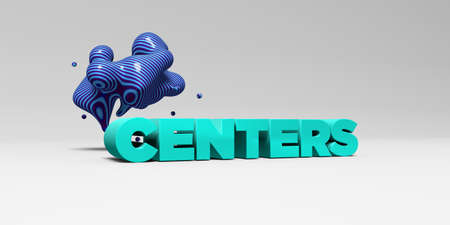 centers: CENTERS - 3D rendered colorful headline illustration.  Can be used for an online banner ad or a print postcard.