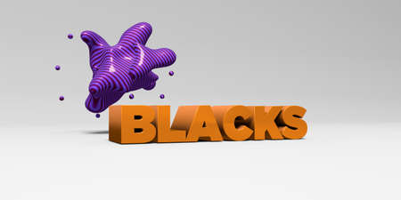 blacks: BLACKS - 3D rendered colorful headline illustration.  Can be used for an online banner ad or a print postcard.