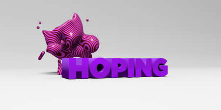 HOPING - 3D rendered colorful headline illustration.  Can be used for an online banner ad or a print postcard.