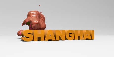 SHANGHAI - 3D rendered colorful headline illustration.  Can be used for an online banner ad or a print postcard.