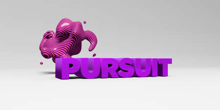pursuit: PURSUIT - 3D rendered colorful headline illustration.  Can be used for an online banner ad or a print postcard. Stock Photo