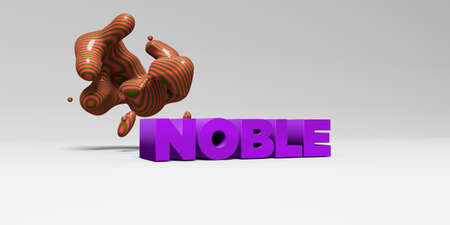 banner ad: NOBLE - 3D rendered colorful headline illustration.  Can be used for an online banner ad or a print postcard.