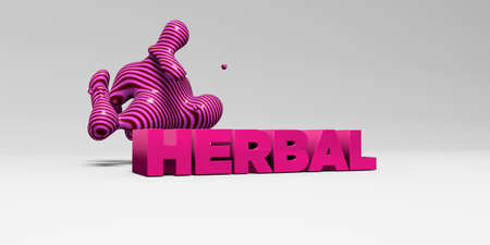 sentence typescript: HERBAL - 3D rendered colorful headline illustration.  Can be used for an online banner ad or a print postcard.