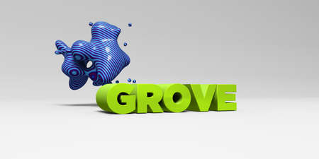 GROVE - 3D rendered colorful headline illustration.  Can be used for an online banner ad or a print postcard.
