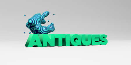 antiques: ANTIQUES - 3D rendered colorful headline illustration.  Can be used for an online banner ad or a print postcard.