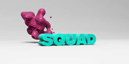 banner ad: SQUAD - 3D rendered colorful headline illustration.  Can be used for an online banner ad or a print postcard. Stock Photo