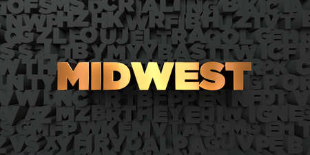 midwest: Midwest - Gold text on black background - 3D rendered royalty free stock picture. This image can be used for an online website banner ad or a print postcard.