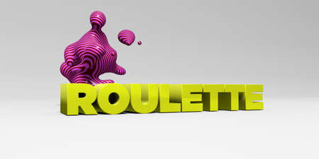 online roulette: ROULETTE - 3D rendered colorful headline illustration.  Can be used for an online banner ad or a print postcard. Stock Photo