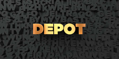 depot: Depot - Gold text on black background - 3D rendered royalty free stock picture. This image can be used for an online website banner ad or a print postcard.