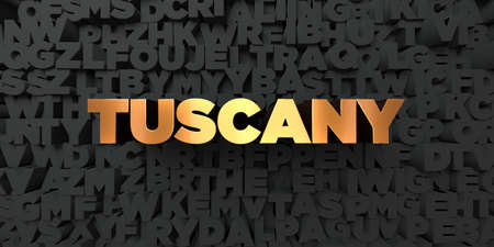 Tuscany - Gold text on black background - 3D rendered royalty free stock picture. This image can be used for an online website banner ad or a print postcard. Stockfoto