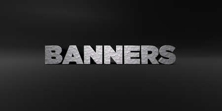 BANNERS - hammered metal finish text on black studio - 3D rendered royalty free stock photo. This image can be used for an online website banner ad or a print postcard.