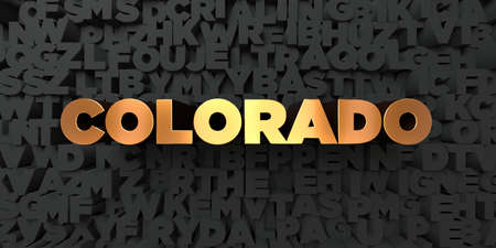 Colorado - Gold text on black background - 3D rendered royalty free stock picture. This image can be used for an online website banner ad or a print postcard. Stock Photo
