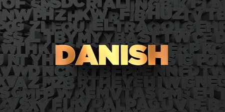 デンマーク - 黒地にゴールド テキスト - 3 D レンダリングされたロイヤリティ フリー ストック画像。この画像は、オンラインの web サイトのバナー