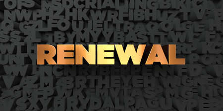 renewal: Renewal - Gold text on black background - 3D rendered royalty free stock picture. This image can be used for an online website banner ad or a print postcard.