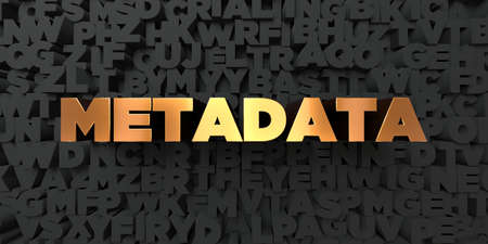 metadata: Metadata - Gold text on black background - 3D rendered royalty free stock picture. This image can be used for an online website banner ad or a print postcard. Stock Photo