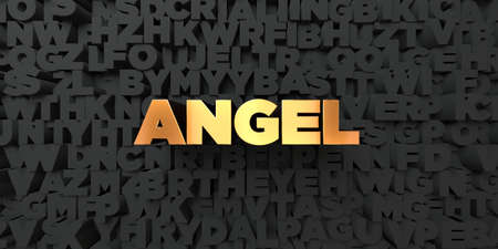 single word: Angel - Gold text on black background - 3D rendered royalty free stock picture. This image can be used for an online website banner ad or a print postcard.