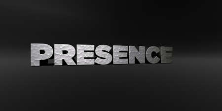 presence: PRESENCE - hammered metal finish text on black studio - 3D rendered royalty free stock photo. This image can be used for an online website banner ad or a print postcard.