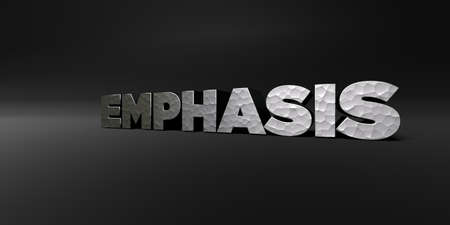 EMPHASIS - hammered metal finish text on black studio - 3D rendered royalty free stock photo. This image can be used for an online website banner ad or a print postcard.