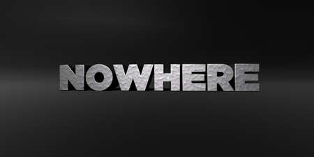 NOWHERE - hammered metal finish text on black studio - 3D rendered royalty free stock photo. This image can be used for an online website banner ad or a print postcard.