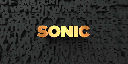 sonic: Sonic - Gold text on black background - 3D rendered royalty free stock picture. This image can be used for an online website banner ad or a print postcard.