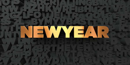 Newyear - Gold text on black background - 3D rendered royalty free stock picture. This image can be used for an online website banner ad or a print postcard.