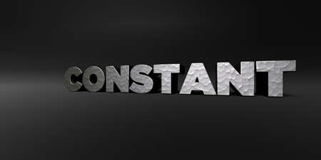 constant: CONSTANT - hammered metal finish text on black studio - 3D rendered royalty free stock photo. This image can be used for an online website banner ad or a print postcard.