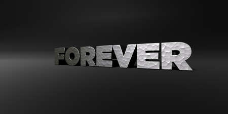 royalty free photo: FOREVER - hammered metal finish text on black studio - 3D rendered royalty free stock photo. This image can be used for an online website banner ad or a print postcard. Stock Photo