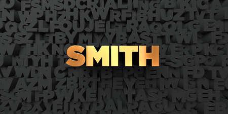 Smith - Gold Text auf schwarzem Hintergrund - 3D gerendert, Bildnr. Dieses Bild kann für eine Online-Website Werbebanner oder einen Druck Postkarte verwendet werden. Standard-Bild - 66737193