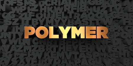 polymer: Polymer - Gold text on black background - 3D rendered royalty free stock picture. This image can be used for an online website banner ad or a print postcard. Stock Photo