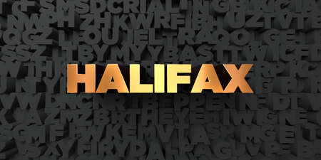 halifax: Halifax - Gold text on black background - 3D rendered royalty free stock picture. This image can be used for an online website banner ad or a print postcard. Stock Photo