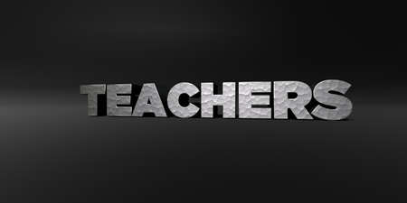 TEACHERS - hammered metal finish text on black studio - 3D rendered royalty free stock photo. This image can be used for an online website banner ad or a print postcard.