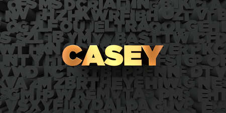 casey: Casey - Gold text on black background - 3D rendered royalty free stock picture. This image can be used for an online website banner ad or a print postcard.
