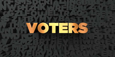 voters: Voters - Gold text on black background - 3D rendered royalty free stock picture. This image can be used for an online website banner ad or a print postcard.