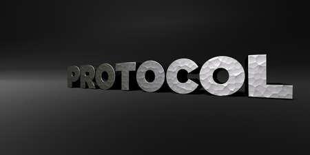 protocol: PROTOCOL - hammered metal finish text on black studio - 3D rendered royalty free stock photo. This image can be used for an online website banner ad or a print postcard.