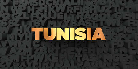 Tunisia - Gold text on black background - 3D rendered royalty free stock picture. This image can be used for an online website banner ad or a print postcard.