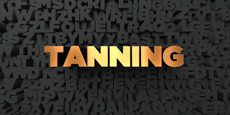 tanning: Tanning - Gold text on black background - 3D rendered royalty free stock picture. This image can be used for an online website banner ad or a print postcard. Stock Photo