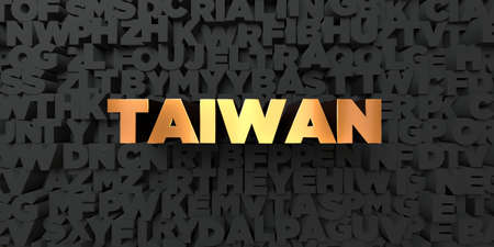 Taiwan - Gold text on black background - 3D rendered royalty free stock picture. This image can be used for an online website banner ad or a print postcard. Reklamní fotografie