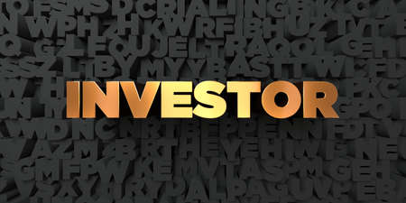 investor: Investor - Gold text on black background - 3D rendered royalty free stock picture. This image can be used for an online website banner ad or a print postcard.