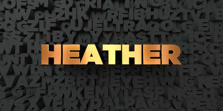 heather: Heather - Gold text on black background - 3D rendered royalty free stock picture. This image can be used for an online website banner ad or a print postcard.