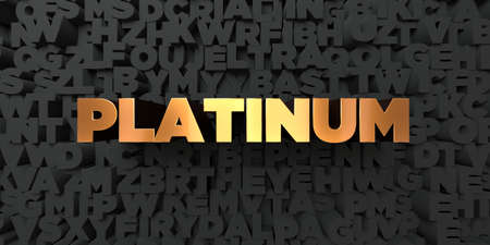 platinum: Platinum - Gold text on black background - 3D rendered royalty free stock picture. This image can be used for an online website banner ad or a print postcard.