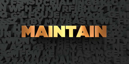 maintain: Maintain - Gold text on black background - 3D rendered royalty free stock picture. This image can be used for an online website banner ad or a print postcard. Stock Photo