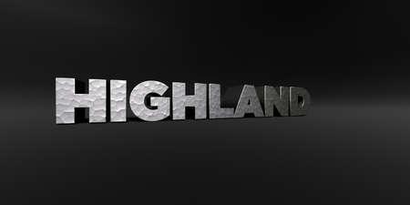 ハイランド - 金属仕上げ黒スタジオ - 3D テキストを描画ロイヤリティ フリーのストック フォトを打ち出した。この画像は、オンラインの web サイト