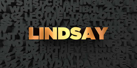 lindsay: Lindsay - Gold text on black background - 3D rendered royalty free stock picture. This image can be used for an online website banner ad or a print postcard.