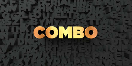 single word: Combo - Gold text on black background - 3D rendered royalty free stock picture. This image can be used for an online website banner ad or a print postcard.