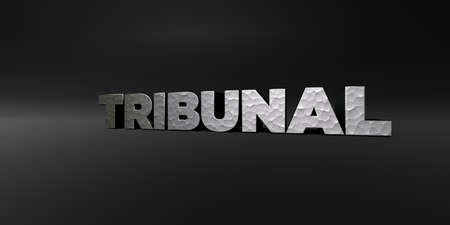 TRIBUNAL - hammered metal finish text on black studio - 3D rendered royalty free stock photo. This image can be used for an online website banner ad or a print postcard. Stock Photo