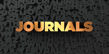 Journals - Gold text on black background - 3D rendered royalty free stock picture. This image can be used for an online website banner ad or a print postcard. Stock Photo